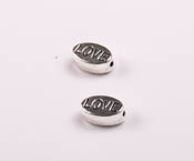 Margele din metal LOve , 6X10 mm, gaura 1 mm, 10 buc