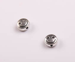 Margele din metal Smile, 6X3 mm, gaura 1 mm, 20 buc